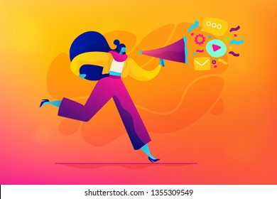 Public relations and affairs, communication, pr agency and jobs concept. Vector isolated concept illustration. Small heads and huge legs people. Hero image for website.