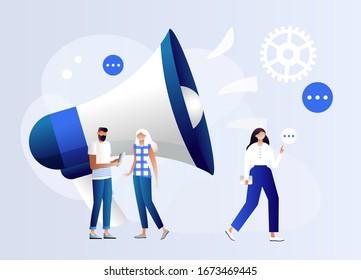 Public Relations and Affairs, Communication, Pr Agency Marketing Team Work with Huge Megaphone, Alert Advertising, Propaganda, Speech Bubbles, Social Media Promotion. Cartoon Flat Vector Illustration