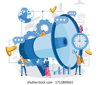 Public Relations and Affairs, Communication, Vector illustration for web banner, infographics, mobile. Pr Agency