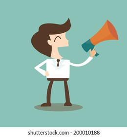 public relations - businessman talking through a bullhorn