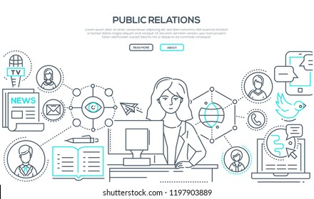 Public relations - line design style illustration on white background with place for your text. Banner with a female PR worker at her computer, different types of communications, TV, news, SMM