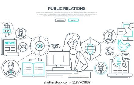 Public relations - modern colorful line design style illustration