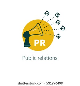 Public relations. Vector megaphone. Target audience. Logo communications Icon PR.