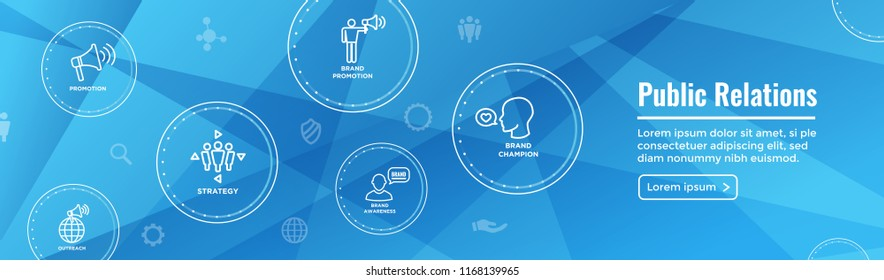 Public Relations Web Header Banner and Icon Set with brand awareness, strategy, and promotion