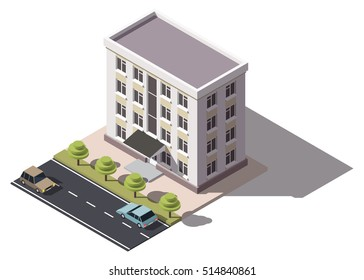 Public residential building isometry. Isometric view of the house and cars. 3D object for video games or real estate advertising. For Your business. Vetor Illustration