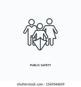 Public Safety outline icon. Simple linear element illustration. Isolated line Public Safety icon on white background. Thin stroke sign can be used for web, mobile and UI.
