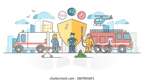 Public safety protection by police, ambulance and firefighter outline concept. Emergency help service crew together on city accident vector illustration. 911 protection and care as work and occupation