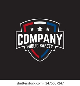 Public secure badge shield emblem logo design with police, medical and firearms icon