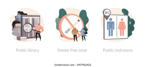 Public service abstract concept vector illustration set. Public library, smoke free zone, restroom facilities, no smoking area, place for children, cleaning and disinfection abstract metaphor.