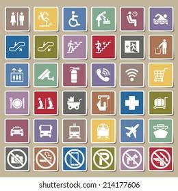 Public signs vector Sticker set