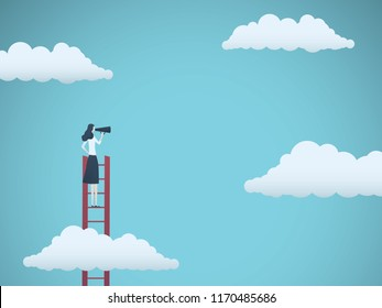 Public speaker or business leader vector concept. Businesswoman speaking through megaphone on a ladder. Symbol of motivation, challenge, ambition. Eps10 vector illustration.