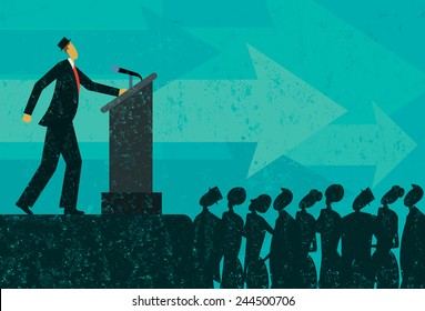 Public Speaker A businessman giving a speech to a crowd of people. The businessman & podium, crowd, and background are on separately labeled layers.