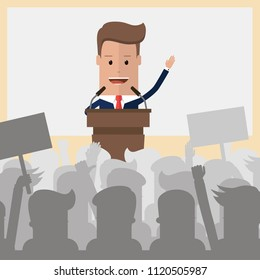 Public speaker politician on the podium. Orator speaking from tribune for the audience. Businessman speaker on presentation podium. Vector illustration