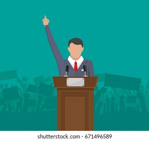 Public speaker politician on the podium in front of a crowd silhouette. Vector illustration in flat style