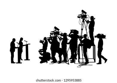 Public speaker standing on podium vector silhouette. Politician woman on meeting ceremony event. Businessman speaking with public. Talking on press conference. Election campaign duel. Cameraman crew