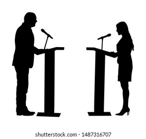 Public speaker standing on podium vector silhouette. Politician woman opening meeting ceremony event. Business man speaking with public. Talking on microphone. Election campaign vote  opponent duel.