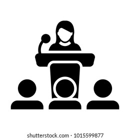 Public Speaking Icon Vector Female Person on Podium for Presentation and Seminar for People with Microphone in Glyph Pictogram Symbol illustration