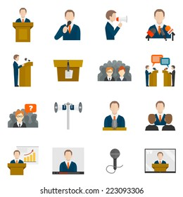 Public speaking icons set with business presentation politician conference isolated vector illustration
