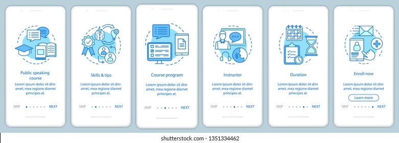 Public speaking skill classes onboarding mobile app page screen vector template. Professional speakers school. Walkthrough website steps with linear icons. UX, UI, GUI smartphone interface concept