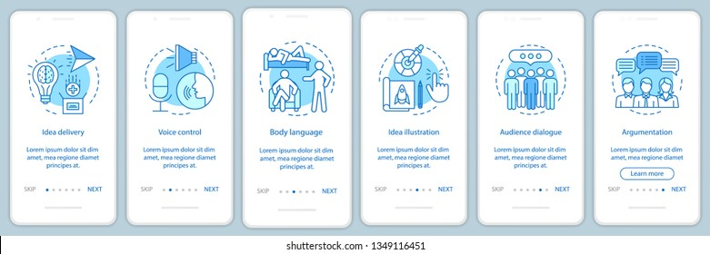 Public speaking skills onboarding mobile app page screen vector template. Voice control, body language, audience dialog. Walkthrough website steps. UX, UI, GUI smartphone interface concept