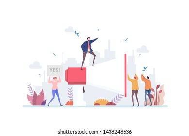 Public Speaking Vector Illustration Concept Showing a leader using good public speaking to deliver campaign, Suitable for landing page, ui, web, App intro card, editorial, flyer, and banner.