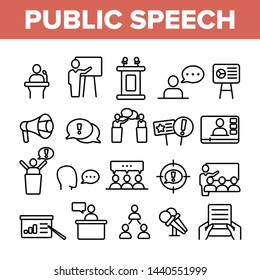 Public Speech Vector Thin Line Icons Set. Public Speech, Oratorical Skills Linear Pictograms. Presentation, Interpersonal Communication, Political Debates, Press Conferences Contour Illustrations