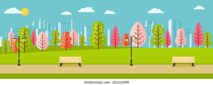 Public spring park with pink, red, green trees and a view of city.