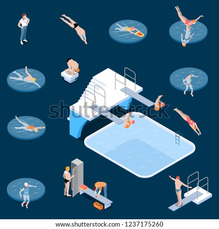 Public Swimming Pool Sports Equipment Locker Room Elements And Visitors  Isometric Set Dark Background Isolated Vector