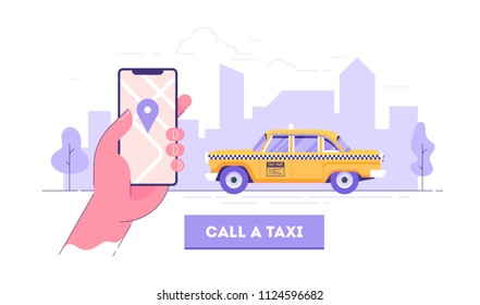 Public taxi mobile application concept. Hand holding smart phone with taxi app on display. Urban taxi service. Flat vector illustration.