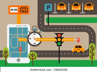 Public taxi on line service, mobile application. Navigation map with yellow taxi and smatrphone. Flat vector app illustration.