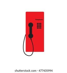 Public telephone white background