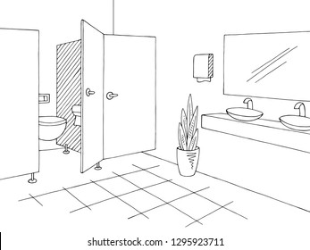 Public toilet graphic interior black white sketch illustration vector