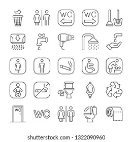 Public toilet icon set. Signs and pointers for the hotel. Male, female, for the disabled, mother and child room.
