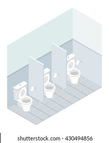Public toilet isometrics. Interior overall restroom. Toilets and partitions. atmosphere in outhouse