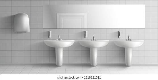 Public toilet minimalistic interior 3d realistic vector mockup. Row of ceramic sink washbasins with metal faucet, soap dispensers, hand dryer unit and long mirror on white tilled wall illustration