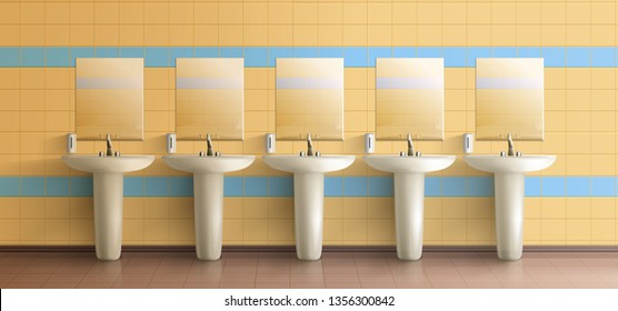 Public toilet minimalistic interior 3d realistic vector mockup. Row of ceramic sink washbasins with metal faucet, soap dispensers and mirrors on tilled wall illustration