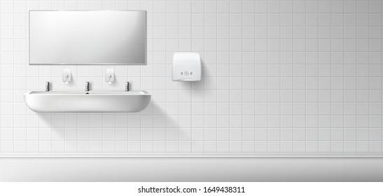 Public toilet with white ceramic sink and mirror. Vector realistic interior of empty restroom with washbasin and hand dryer on white tiled wall. Illustration of lavatory, WC