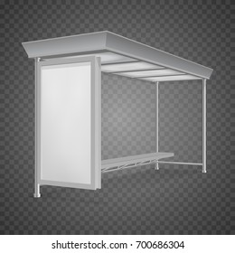 Public transport bus stop shelter billboard for advertisers and your design. Vector object. Isolated on transparent background.