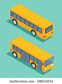 Public transport bus. Transportation isometric icon. Flat design vector illustration