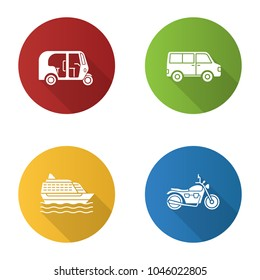 Public transport flat design long shadow glyph icons set. Modes of transport. Auto rickshaw, minivan, cruise ship, motorbike. Vector silhouette illustration