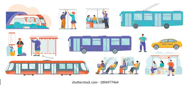 Public transport flat set with tram bus stop schedule trolleybus subway train taxi passengers isolated vector illustration