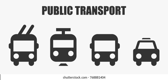 Public transport icons - bus, taxi, trolley bus and train