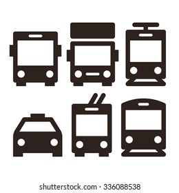 Public transport icons - bus, truck, streetcar, taxi, trolley bus and train