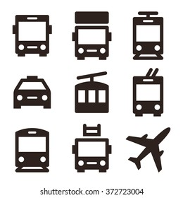 Public transport icons - bus, truck, streetcar, taxi, ropeway, trolley bus, train, fire truck and plane