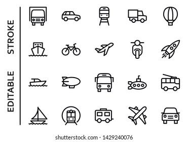 Public transport icons. Editable stroke. Thin vector icons set. Outline Stroke on White Background Vector Illustration