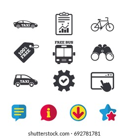Public transport icons. Free bus, bicycle and taxi signs. Car transport symbol. Browser window, Report and Service signs. Binoculars, Information and Download icons. Stars and Chat. Vector