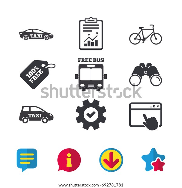 Public Transport Icons Free Bus Bicycle Stock Vector