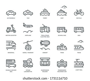 Public transport Icons, side view. Monoline concept.The icons were created on a 48x48 pixel aligned, perfect grid providing a clean and crisp appearance. Adjustable stroke weight.