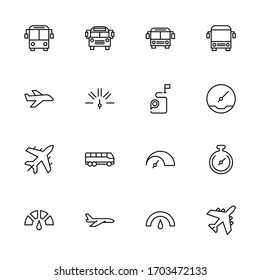 Public transport line icon set. Collection of high quality black outline logo for mobile concepts and web apps. Public transport set in trendy flat style. Vector illustration on a white background