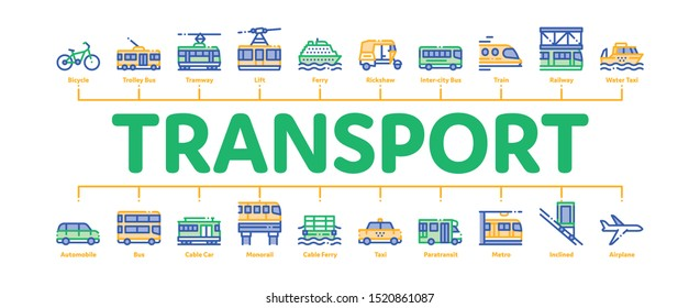 Public Transport Minimal Infographic Web Banner Vector. Trolleybus And Bus, Tramway And Train, Cable Way And Monorail Transport Linear Pictograms. Car And Taxi, Plane And Ship Illustrations